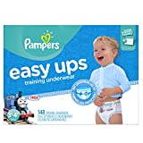 #3: Pampers Easy Ups Training Pants Pull On Disposable Diapers for Boys Size 5 (3T-4T), 148 Count, ONE MONTH SUPPLY