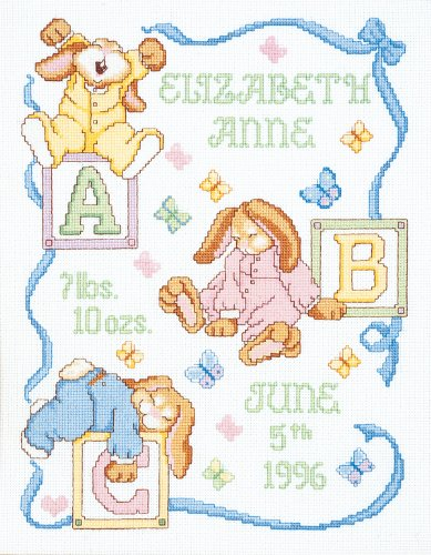 Janlynn 242077 Sleepy Bunnies Sampler Counted Cross Stitch Kit-11