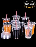 Gift - Luckypack Premium Plastic Pet Cups with Flat Lids, 100 Straws, 16 oz., Clear