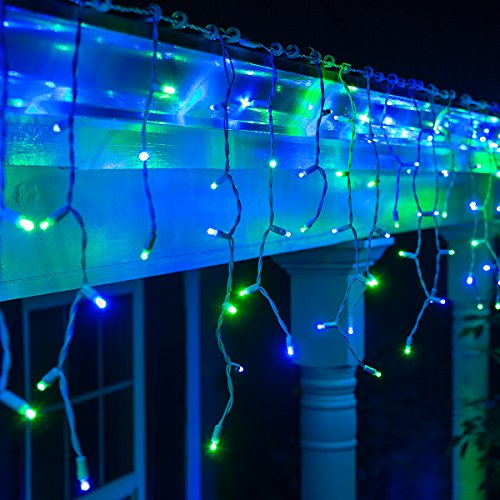 Blue Led Icicle Lights With Green Wire in US - 1