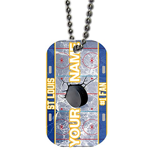 BleuReign(TM) Personalized Custom Name Hockey Team St.Louis License Plate Single Sided Metal Military ID Dog Tag with Beaded Chain