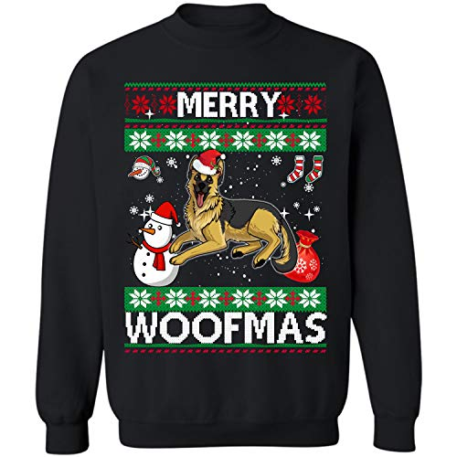 German Shepherd Dog Merry Woofmas Crewneck Sweatshirt Christmas Costume (Black - L)]()