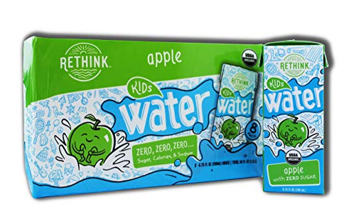 Rethink Kids Water, Flavored Water, Zero Sugar, Zero Calorie, Zero Sodium, 100% Recyclable, 200 mL Carton, Pack of 32 (Kids Apple)