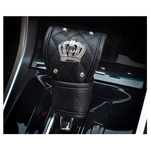 Siyibb PU Leather Car Gear Shift Cover with Bling Crown