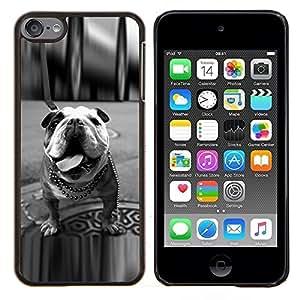 Perro blanco Bulldog Inglés Negro Londres- Metal de aluminio y de plástico duro Caja del teléfono - Negro - iPod Touch 6