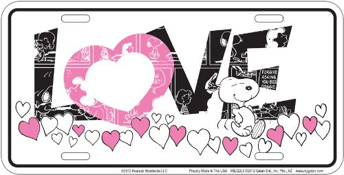 Peanuts - Pink Love Snoopy License Plate (Snoopy License Plate Frame compare prices)