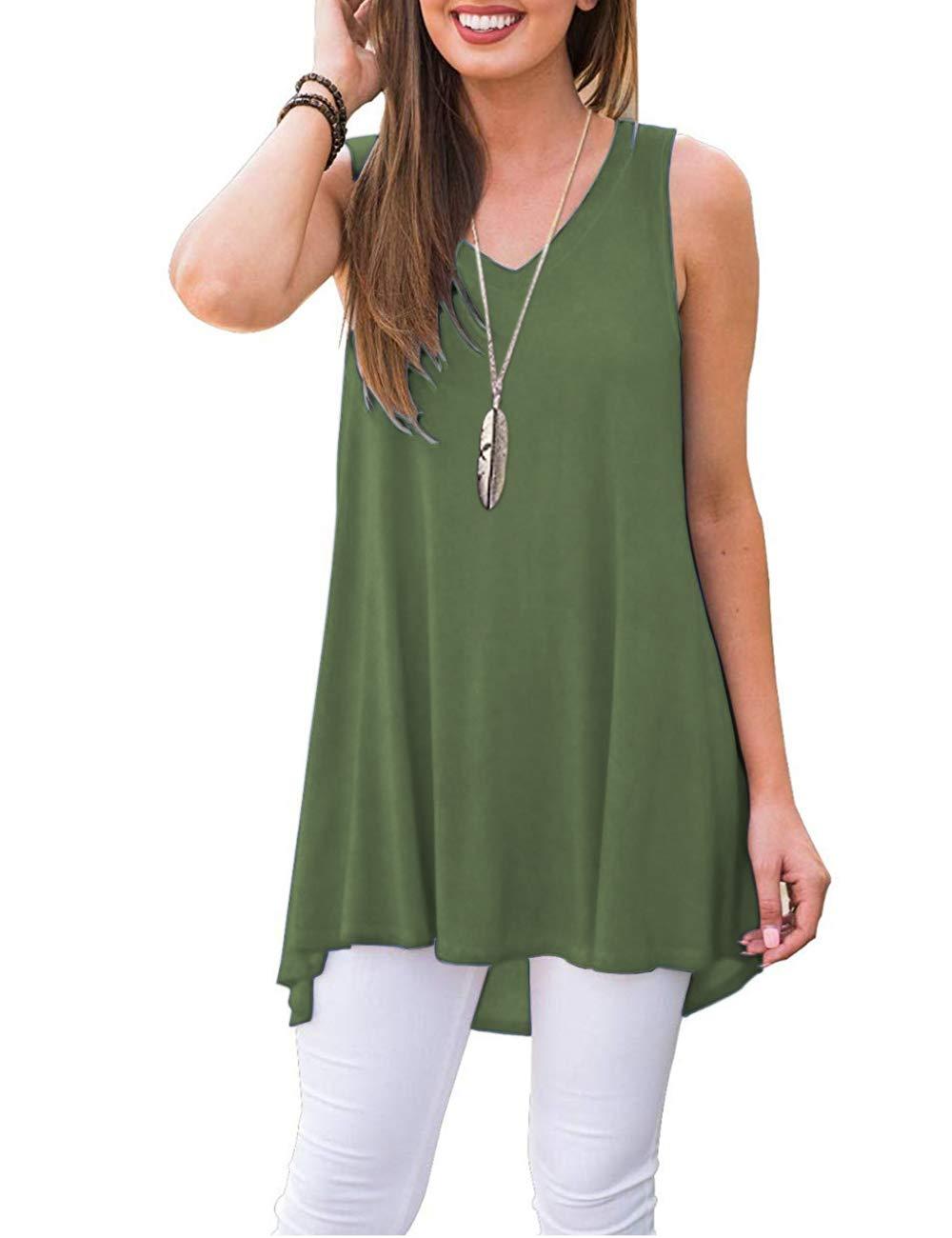 WNEEDU Women's Summer Sleeveless Tunic Casual V-Neck T-Shirt Tank Tops Blouse
