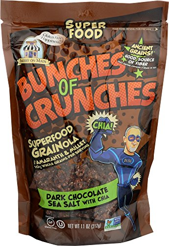 Bakery on Main Gluten Free Bunches of Crunches Superfood Granola, Dark Chocolate Sea Salt with Chia, 11 Ounce