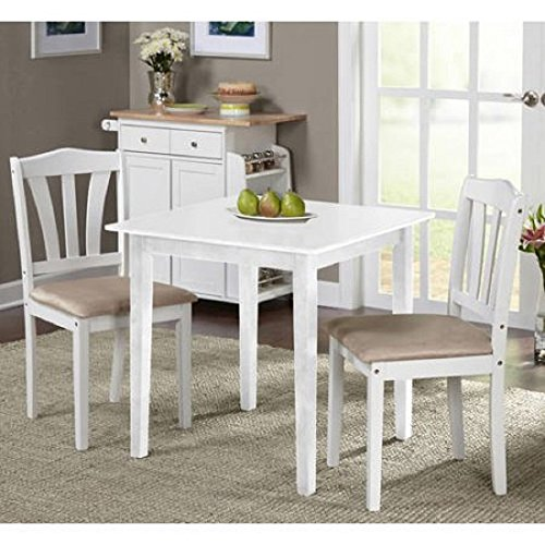 """MPN 3 Piece Dining Set, Multiple Finishes, White, Material Rubberwood, Micro fiber Fabric Foam Small kitchen dining set in your choice, No. of pieces 3, Measurements: 30""""L x 30""""W x 29""""H"""