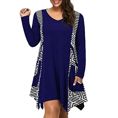nee-Length Dress for Women Long Sleeve V-Neck Asymmetrical Hem Geometric Frills Pockets Plus Size ()