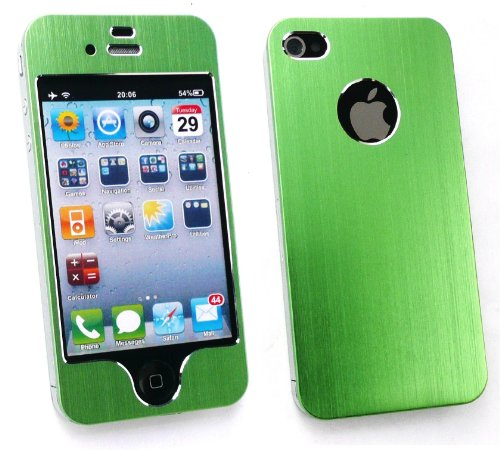 Emartbuy Apple Iphone 4G 4 4S 4GS HD Brushed alumimium Effect Front-und Back-Aufkleber / Case / Cover Grün