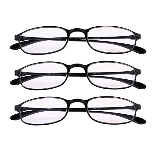 de3fe73f410 Amazon.com  Fullwosing 3 Pairs Reading Glasses +1.50 Mens Womens Classic  Readers Eyeglasses Home Office Everyday Use Spectacles Black  Health    Personal ...