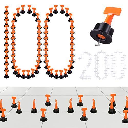 - 100PCS Premium Tile Leveling System Kits & 200PCS 2mm Tile Spacer, DIY Tiles Leveler Spacers with Wrench, Reusable Flooring Level Tile levellers, Wall & Floor Construction Tools By Tanek (100)