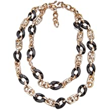 Faux Jet Black Shell & Lucite Rose Gold 2 Tier Layered Links Chunky Necklace Sale Christmas Gift Her Janeo Jewellery