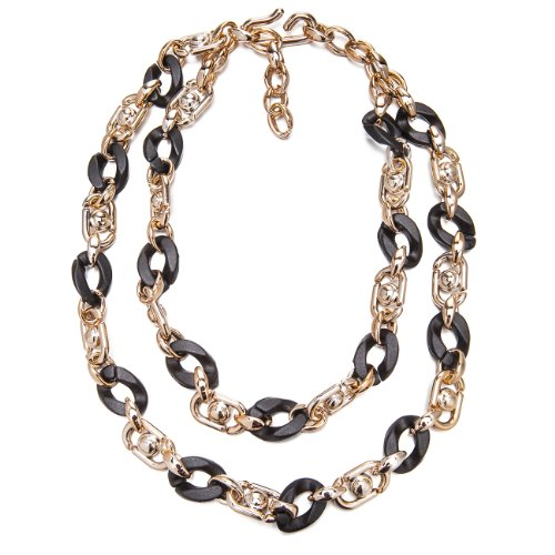 Faux Jet Black Shell & Lucite Rose Gold 2 Tier Layered Links Chunky Necklace Sale Christmas Gift Her - Black, Janeo Jewellery