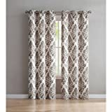 Alton Damask Grommet Top Window Curtain Panel, 38″x96″ (2PC), Taupe For Sale