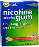 Sunmark Nicotine Polacrilex Coated Gum 4 mg Cool Mint - 100 ct, Pack of 6