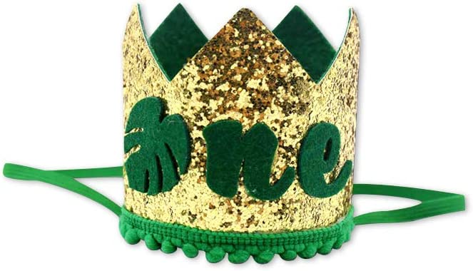 Wild One Highchair Banner Baby First Birthday Crown Glitter Cake Topper for Kids Birthday Supplies Safari Jungle Theme 1st Birthday Decorations