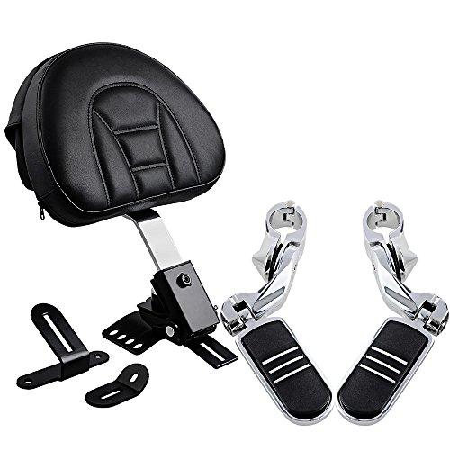 Set Chrome Black 1 1/4 32mm Engine Guard Highway Foot Pegs Footrest + Driver Backrest w/Pockets (Driver Footrest)
