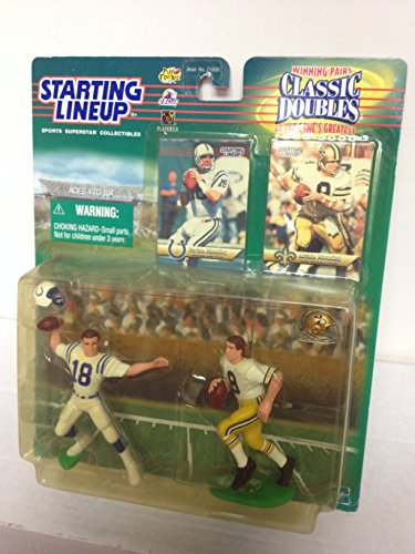 1999 QB CLub Peyton Manning and Archie Manning Indianoplis Colts New Orleans Saints NFL Football Action Figure Set with Collectible Trading Cards