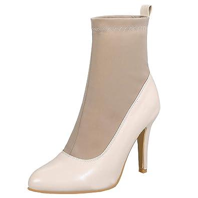 8ecc641eaf16 YE Chaussures Bottes Sexy Extensibles Femme Elegant Ankle Boots Stiletto  Heels Bottine Bout Pointu à Talon
