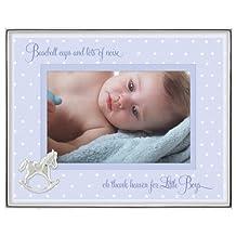Malden International Designs Baby Sentiments Boy, Metal Shadowbox,  Picture Frame, 4 by 6-Inch, Blue Mat Silver