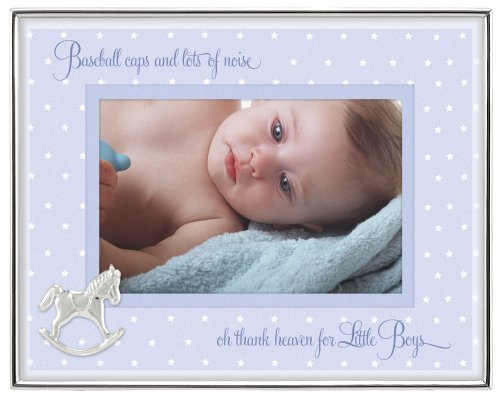 Malden International Designs Baby Sentiments Boy Blue Mat With Silver Horse Attachment Metal Shadowbox Picture Frame, 4x6, ()