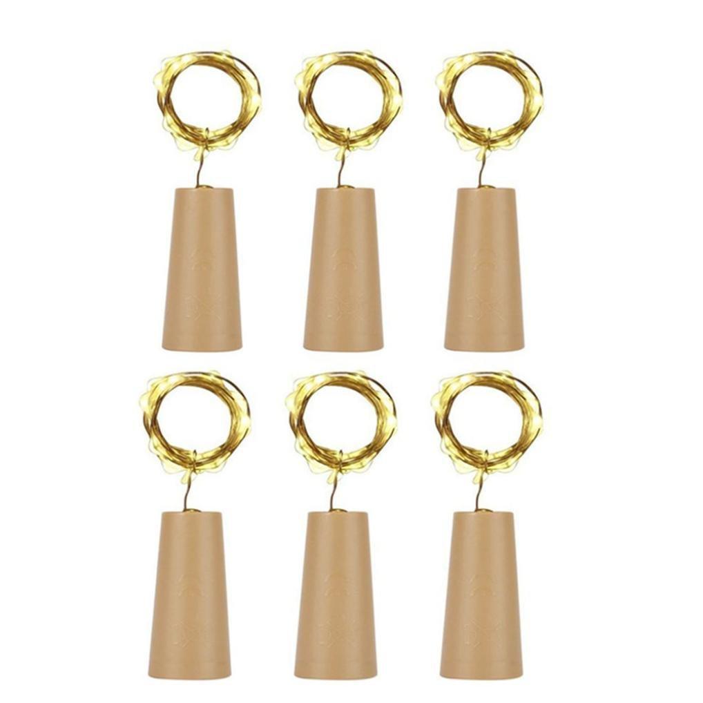 Covermason Lichterkette, 6 Stück Kork geformt LED Nachtlicht Sternenlicht Wein Flaschenlampe Für Partydekor (Gelb) Covermason Garten