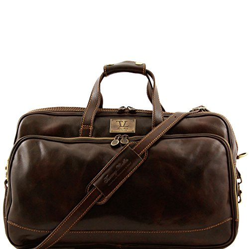 Tuscany Leather Bora Bora Trolley leather bag - Small size Dark Brown by Tuscany Leather