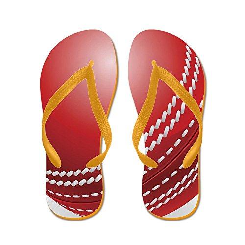 Cafepress Glanzende Rode Traditionele Cricket Bal - Flip Flops, Grappige String Sandalen, Strand Sandalen Oranje