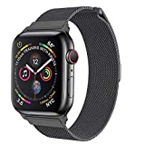 amBand Compatible Apple Watch Band 42mm 44mm, Stainless Steel Mesh Milanese Replacement Wristband Compatible iWatch Series 4/3/2/1 Space Grey
