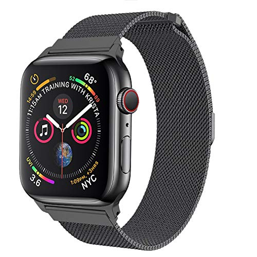 amBand Compatible with Apple Watch Band 42mm 44mm, Stainless Steel Mesh Milanese Replacement Wristband Compatible for iWatch Series 4/3/2/1 Space Grey