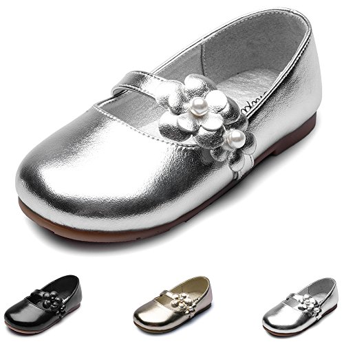 Maxu Shinning Flower Slip on Mary Jane for Girls,Silver,Little Kid,12M by Chiximaxu
