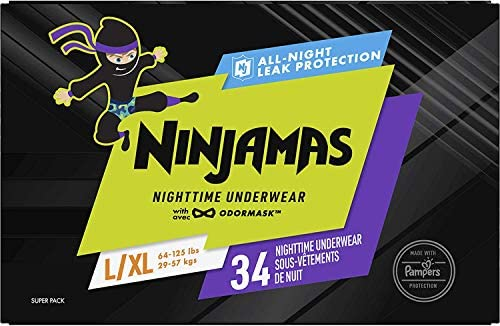 Pampers Ninjamas, Overnight Diapers, Nighttime Underwear, Disposable Underwear Boys, FSA HSA Eligible, 34 Count, Size L/XL (64-125 lbs)