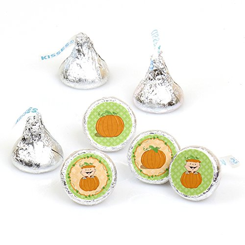 Little Pumpkin - Fall Baby Shower or Birthday Round Candy Sticker Favors -Labels Fit Hershey's Kisses (1 sheet of 108)