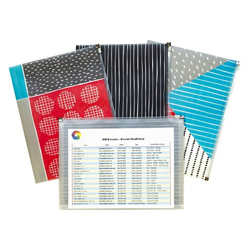 Patterned Envelopes (C-Line Zip 'N Go Reusable Poly Envelope, Playful Pops Design, Pack of 3 (54610))