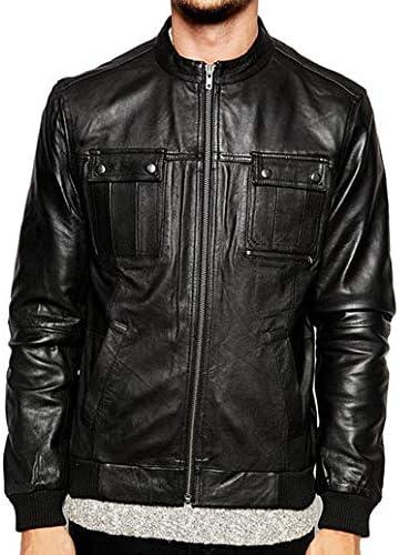 Woojo Mens Real Genuine Lambskin Leather Black Jacket WJ120