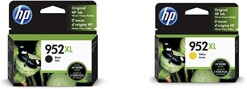 HP 952XL Black Ink Cartridge (F6U19AN) & 952XL Ink Cartridge Yellow (L0S67AN)