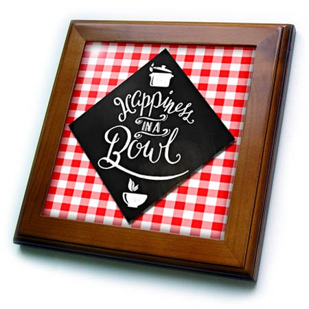 3dRose Doreen Erhardt Foodies - Happiness in a Bowl Chalkboard Typography for Chef in Red and White - 8x8 Framed Tile - Tile Chef Framed