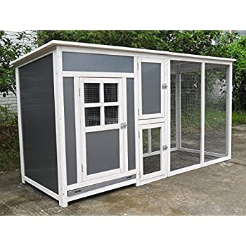 ChickenCoopOutlet 78 Light Weight Wood Frame Chicken Coop With Plastic Inserts Backyard Hen House 2 4 Chickens Nesting Box Run