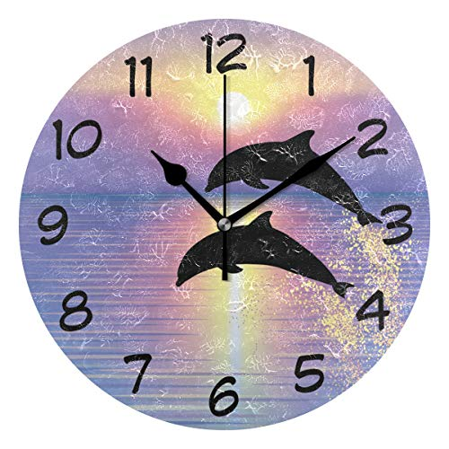 (DJROW Dolphins Jumping Wall Clock Office Kitchen Bedroom Living Room Decor 9 Inch,Indoor Modern Simple Oil Painting Acrylic Round Battery Operated)