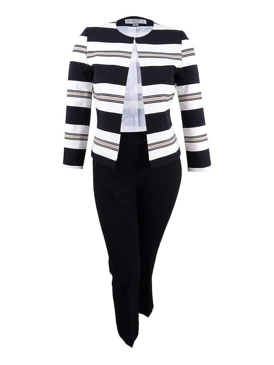 Tahari ASL Women's Plus Size Striped Flyaway Pantsuit (18W, Black/Ivory/Beige)