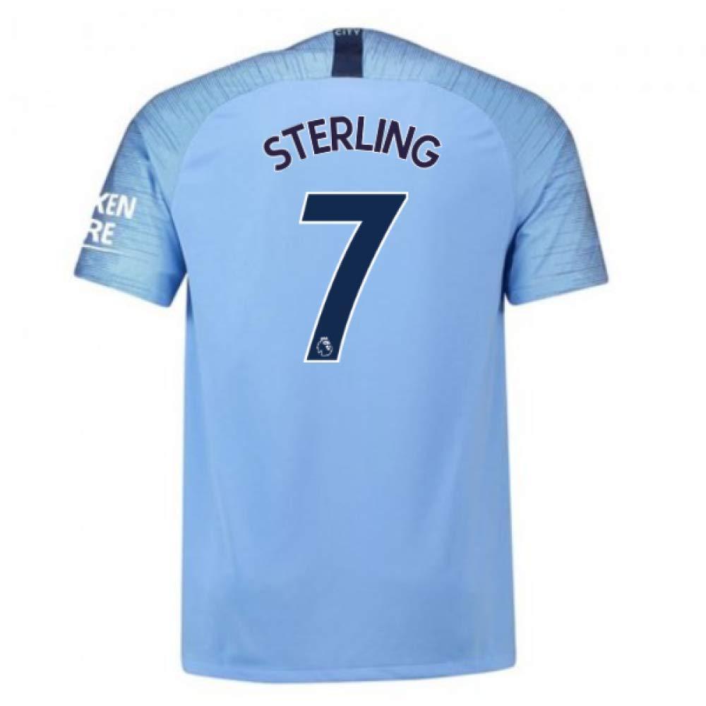 2018-2019 Man City Home Nike Football Soccer T-Shirt Trikot (Raheem Sterling 7) - Kids