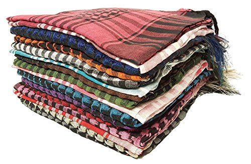 Kuldip Arafat Shemagh Arab Headscarf. Factory Seconds. Mixed Colors. Pack of 5