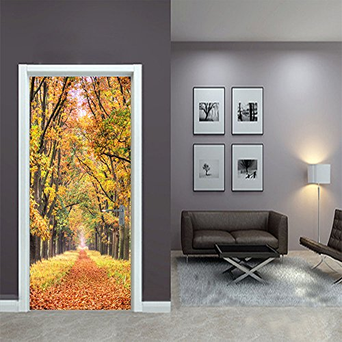 LWCX Falling Leaf Creative Door Sticker To The Bedroom Sticker 38.5200Cm2 Film by LWCX