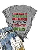 Nlife Women Bake Stuff and Watch Christmas Movies T-Shirt Short Sleeves Tops Blouse