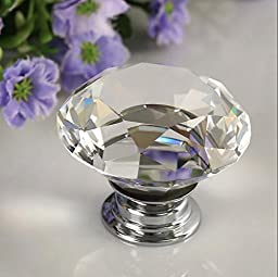 Yazer 10PCS Diamond Shape Crystal Glass 30mm Drawer Knob Pull Handle Used for Drawer Wardrobe Cabinet Cupboard