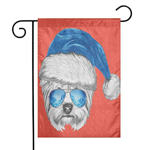 (duommhome Yorkie Garden Flag Terrier with a Blue Santa Hat and Mirror Aviator Glasses Fun Hand Drawn Animal Premium Material W12 x L18 Coral White Blue)