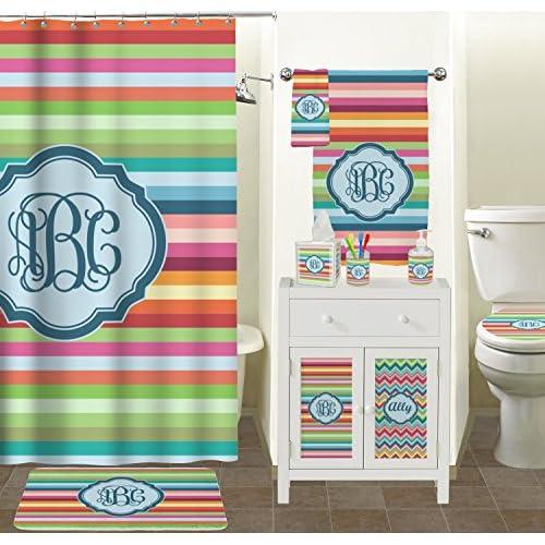 Retro Horizontal Stripes Toilet Seat Decal - Round (Personalized) lovely