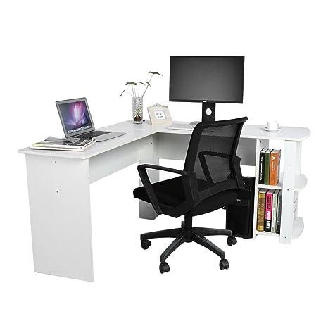Scrivania Per Pc Angolare.Zerone Tavolo Per Ufficio In Legno Scrivania Angolare Tavolo Per Computer Ufficio Stazione Di Lavoro Bianco